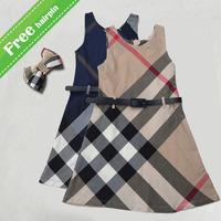 2014 Summer new arrival girls dress plaid princess babi girl dresses designer dress fashion UK brand child clothing