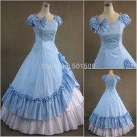 light blue ruffle bowknot lolita costumes adults Medieval dress Renaissance gown Sissi princess costume Victorian Belle Ball