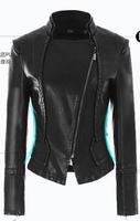 Free shipping women Leather jacket 2014 Winte autumn slim leather coat PU motorcycle jacket ladies black leather jacket coat XXL