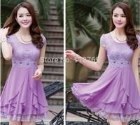 2014 Summer New Women's Dress Round Neck Short Sleeve Lace Dress Stitching Chiffon Dress Women Casual Dress For Female