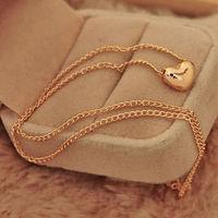 Pretty Gold Plated Heart Womens Bib Statement Chain Jewelry Pendant Necklace