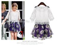 2014 NEW women summer dress famous brand half-sleeve two-piece organza girl dress F303 Free Shipping