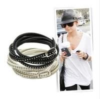 New Fashion Pulseiras Femininas Fine Rivet Wrap Leather Bracelet  Women Or Men Punk Accessories