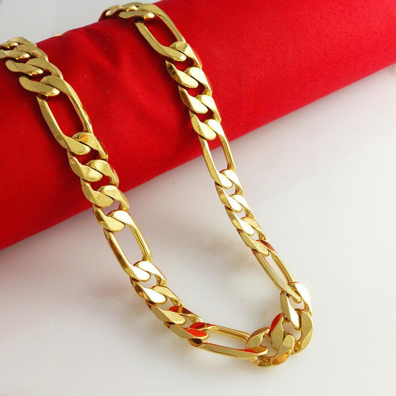 2014 New Arrival 24k Gold Necklaces Link Chain Fashion Men s Jewlery Top Quality Free Shipping