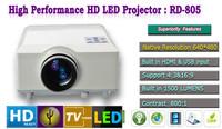 Free shipping: 100W LED 1500 Lumens Home theater projector Contrast,800:1 USB HDMI TV AV VGA Portable Cinema