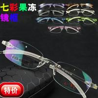 I-bright promotion jelly color men/women fashion memory ultra light rimless glasses frame tr90 bendable optical myopia frame