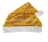 Wholesale 5pcs/lot Gold Fabric Christmas Hat / Unique Design Sequin Double Layer Santa Claus'cap for Party Event Decoration Xmas
