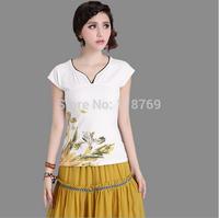 2014 Summer New Women's T-shirt National Wind Women Blouse Ink Printing Slim V-neck Cotton Short-sleeved T-shirt Female