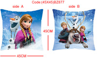 Hot selling 45x45cm Frozen -- Anna and Kristoff  Film anime double cushions pillow (Double with PP cotton stuffing)
