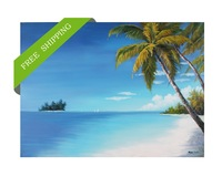 coconut tree nearby blue sea canvas painting Handpainted for living room wall decoration Frameless 70*140cmcm free shipping