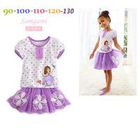 2014 New Summer Girls Dress Suit Cartoon Princess Sophia Suit  Culottes Piece Suit K6217