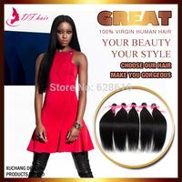 DF Hair:5 Bundles/lot Silky Straight Peruvian Virgin Hair Extension Cheap Human Hair Weaves Jet Black#1  8''-28'' Beauty Hair