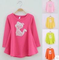 Min Order any 2 pcs in the shop Size100~140 girls t-shirts children clothing kids long sleeve T-Shirt child t shirt  cartoon cat