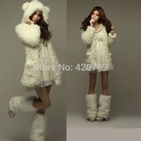2014 Autumn Winter Women Jacket Hoodies New Korean Style Teddy Bear Rabbit Ears Winter Sweatshirt Hooded Coat Outerwear