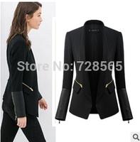 ZA brand new autumn winter 2014 women black stand collar suit fashion PU leather stitching Slim elegant small Outerwear
