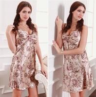 sexy silk nightgown big yard silk female pajamas _S01B