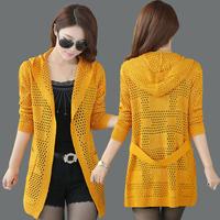 Free shipping  2014 New  Sweater woman  Cardigan jacket  Slim Hollow  Hooded  Long sweater Big yards  Wool  Knitwear XXXL