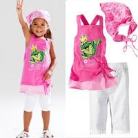 2014 New Baby Girls Clothing Set 3Pcs Suits 2-6 Years O-Neck Sleeveless Cartoon Style Tops + Pants + Headscarf K4113