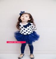 2014 Casual Cotton Girls Summer Dresses Kids Girls Long Sleeve Lace Princess Dress K6259