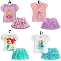 New Summer Princess Skirt Suit Romance Snow Short Sleeve T Shirt Cartoon Children Clothing 2pcs set K3008