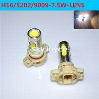 2X 5202 led fog light 7.5W COB H16 led auro drl white color DC12V 9009 LED car fog lamp bulb LED projector lens driving light