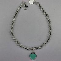 women's luxury brand jewelry Enamel paint blue Peach heart double heart ball titanium steel bracelet with female