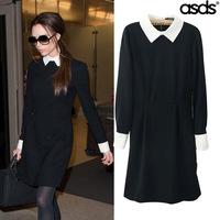 2014 New Fashion Victory Dress Autumn Spring Full Sleeve Dress for Women Brand Mini Dress Collar Black Evening Knitted Dress