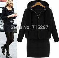 fashion women big size clothes plus size batwing long sleeves loose hooded sweatshirt long outwear slim elegant autumn winter