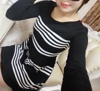 2014 Free Shipping Hot Sale Fashion Korean All Matching Plus Size Hedging Round Neck Pinstripe Dress Black&White RF14100402