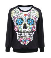2014 Fashion New Women's Harajuku Sweatshirts 3D print  skull Women Novelty Pullover Hoodies Tops Sweatshirts