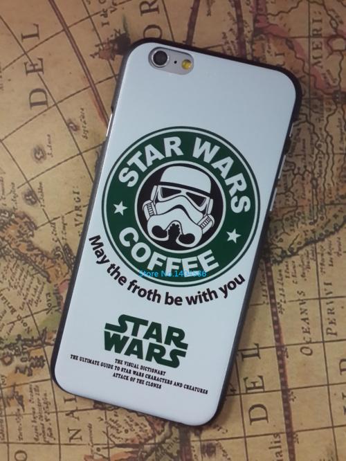 Fashion Starbucks Star wars coffee design phone case for iphone 6 case 4.7 inch case phone Case 1 piece free shipping(China (Mainland))