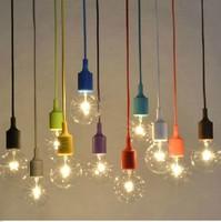 Pendant Lamp Holder Decoration E26 E27 LED Bulb Socket Silicone Lamshade Holder for Dining Hanging Light & Lighting