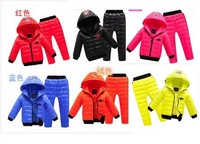 2014 New children boys girls winter clothing suit set baby child Sports warm down jacket+pants sets suits