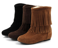 autumn winter women boots shoes Flats Fringe Boots Warm Ankle suede boots with Tassel botas femininas 2015 snow boots