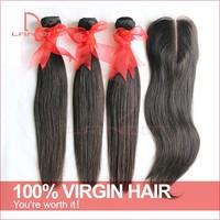 Unprocessed Virgin Brazilian Straight Hair With Closure Landot Hair Products Brazilian Straight Hair Extension Lace Base Closure