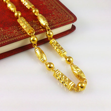 2014 New 24k Gold Necklaces 60 CM Solid Chain Fashion Men's Jewlery High Quality Free Shipping Fine Accessories Wholesale B055