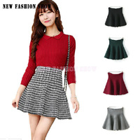 NEW 2014 Spring Autumn Winter Women Skirt Korean Lolita Style High Waist Pleated Knitted Ladies Skirts Red Black Plaid 1003