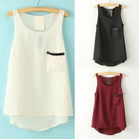 Pocket Shirt Tops 2014 Women's Fashion Simple Style Pocket Round Neck Sleeveless Tank Tops Asymmetrical Shirt J*E3112#S4