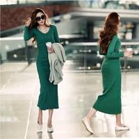2014 autumn plus size slim soild color sexy V-neck full dress 100% cotton knitted long-sleeve dress S-2XL