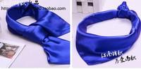 2014 New Arrival Pure Solid Color Satin Silk Small Square Scarf 52cm x 52cm Headband  Women /Men Dress Accessory Collar Cravat