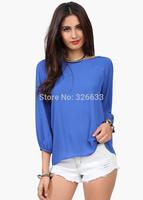 1pcs/lot European Style Fashion Women 2014 Summer autumn Chiffon Loose Backless Bow knot Blouse 4 colors shirts free tracking