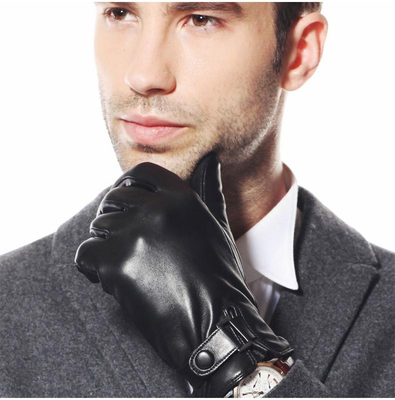 Black Genuine Leather Glove Winter Short Suede Glove For Men Fashion Female XL L M S 2014 New Guante de cuero 1 Pair/lot(China (Mainland))