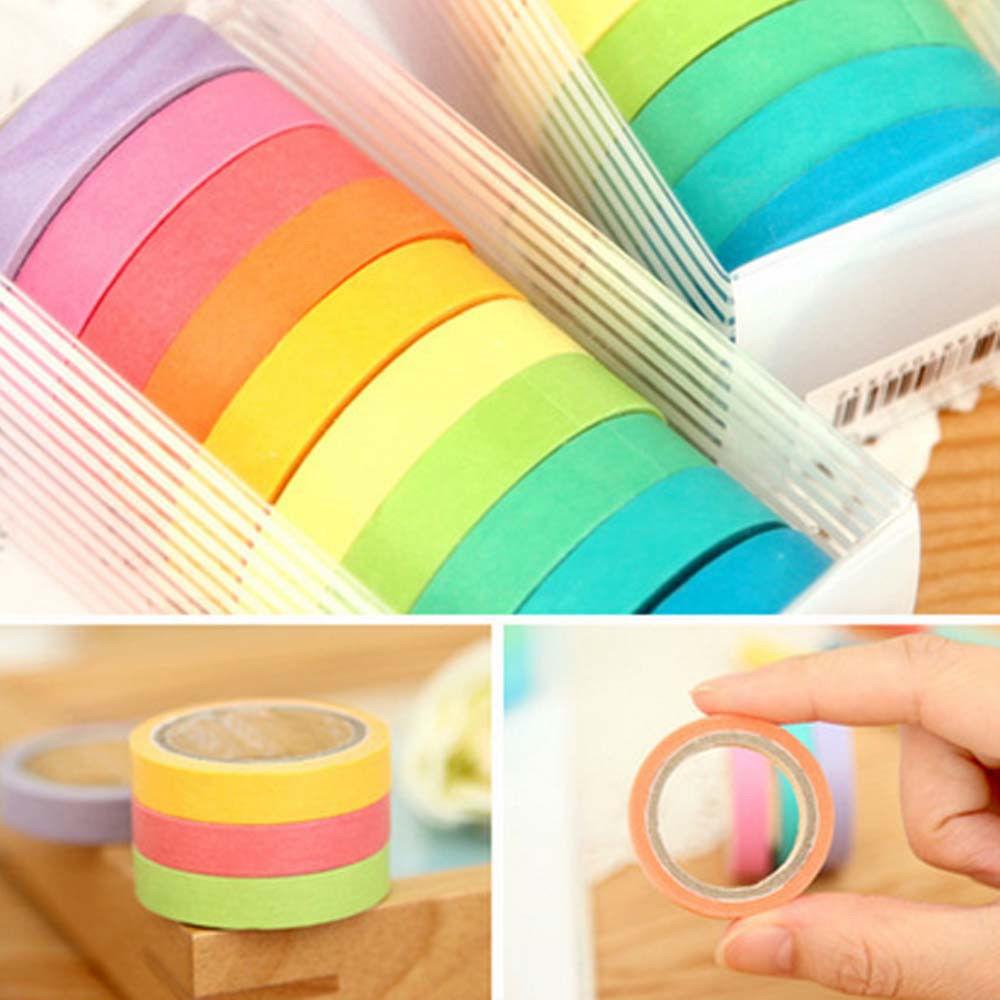 10x Rainbow Washi Sticky Paper Masking Adhesive Decorative Tape Scrapbooking DIY(China (Mainland))