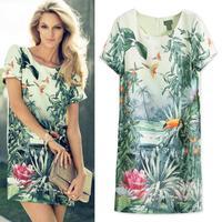 2014 S M L Women Europe Fashion Women's Painting Landscape Print Floral Chiffon DressLQ4037