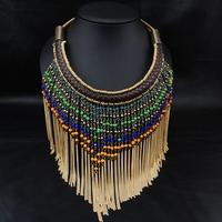 Wholesale tassel Brand Jewlery Fashion Women Exaggerate Accessories Bijoux Collar Necklace Statement Pendant Necklace