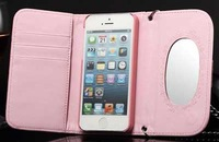 For iphone 4 4s iphone 5 5s phone case leather wallet case with mirror