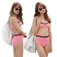 2014 Fashion Female Patchwork Mesh Bikini Swimwear Black and Pink Push Up Halter Vintage Swimsuits
