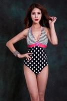 2014 New Dot Print Vintage Beachwear Fashion Dot and Stripe Printed one piece Bathing Suit Plus Size  L-6XL