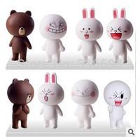 8pcs/set japanese LINE Can she rabbit Brown bear figure boy doll children toys