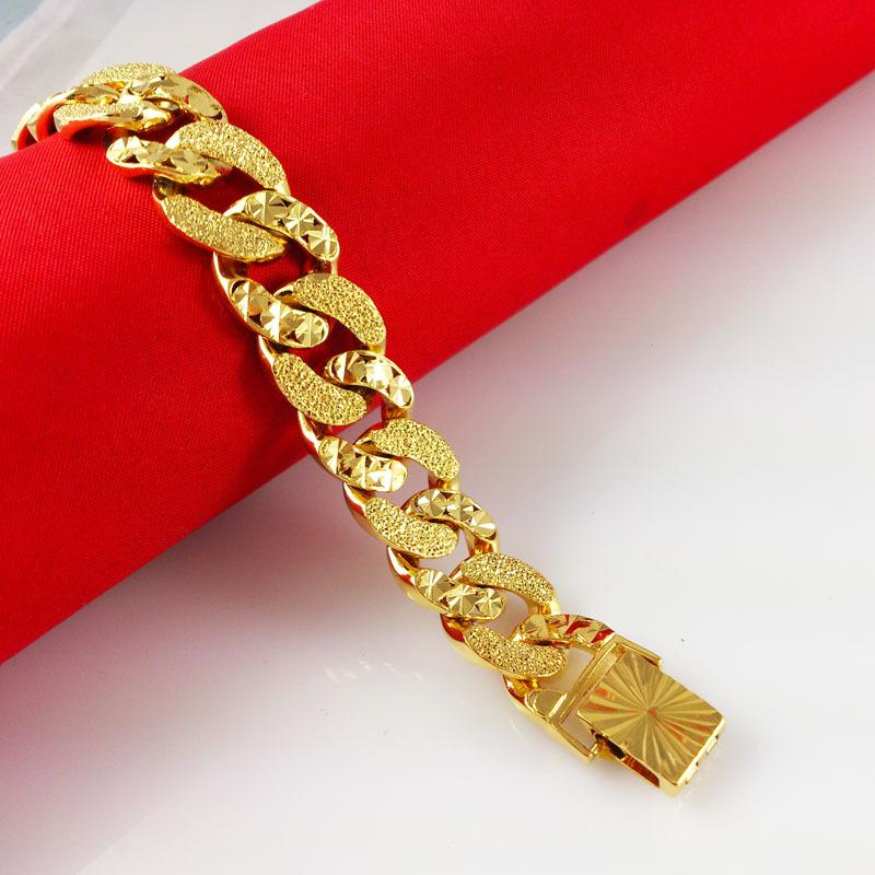 2014 New 24K Gold Plated Bracelets Shiny Chain Fashion Women s Girl s Jewlery Fine Accessories